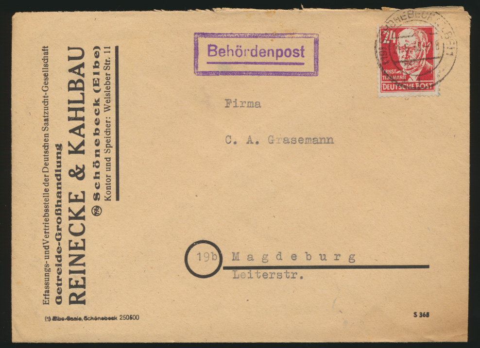 DDR Brief Behördenpost EF 24 Pfg. Thälmann Schönebeck nach Magdeburg 21.6.1950 0