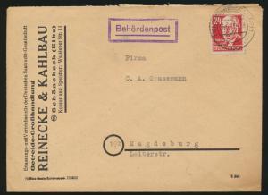 DDR Brief Behördenpost EF 24 Pfg. Thälmann Schönebeck nach Magdeburg 21.6.1950