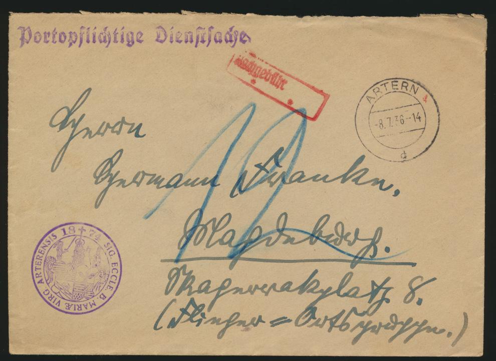 Deutsches Reich Brief portopflichtige Dienstsache Artern 8.7.1936 mit Nachgbühr  0