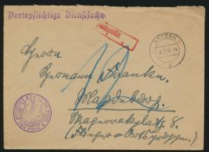 Deutsches Reich Brief portopflichtige Dienstsache Artern 8.7.1936 mit Nachgbühr