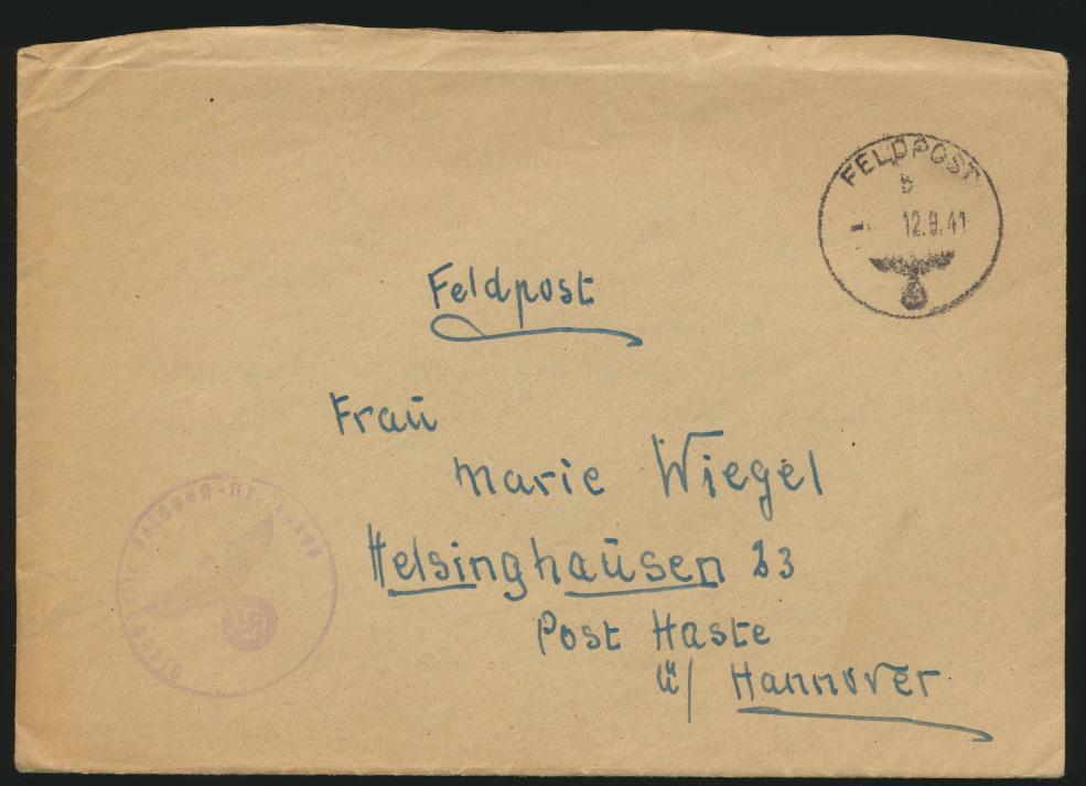 Deutsches Reich Feldpost Brief Post Haste Hannover Abs. 30063 12.9.1941 0