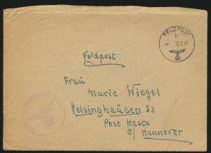 Deutsches Reich Feldpost Brief Post Haste Hannover Abs. 30063 12.9.1941