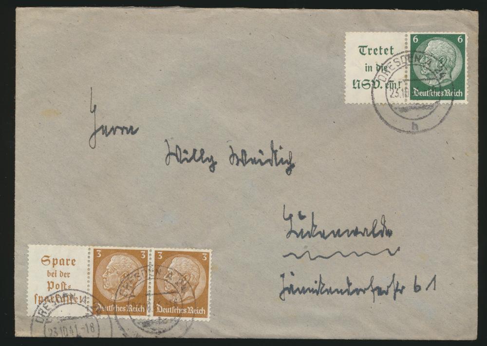 Deutsche Reich Brief Zusammendrucke Dresden 23.10.1941 0