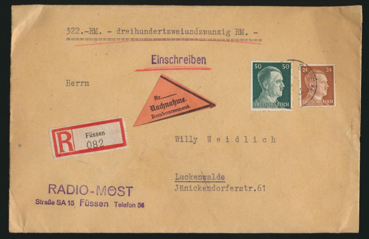 D. Reich Brief MIF per Einschreiben Nachnahme Füssen Radio Möst nach Luckenwalde 0