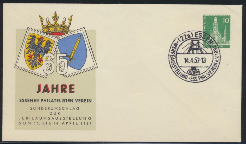 Berlin Privatganzsache Philatelie Essen SST Ausstellung 14.4.1957 0
