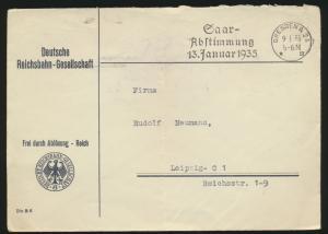 Deutsches Reich Dienst Brief Reichsbahn Dresden Saarabstimmung  Eisenbahn