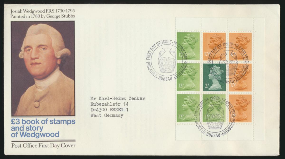 Großbritannien Brief Wedgewood mit Machin Heftchenblatt Zusammendruck Edingburgh 0