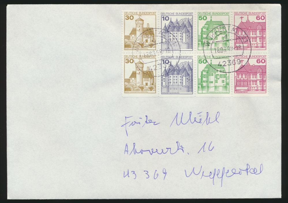 Bund Zusammendruck Heftchenblatt Burgen & Schlösser Plattenfehler 1028 I 0
