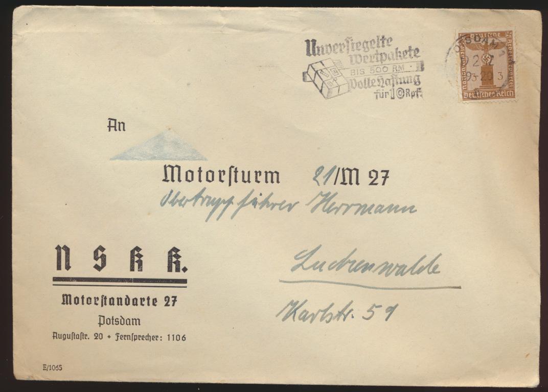 3. Reich Brief Dienst EF 3 Pfg. Werbest. Wertpackete NSKK Motorstandarte M 27  0