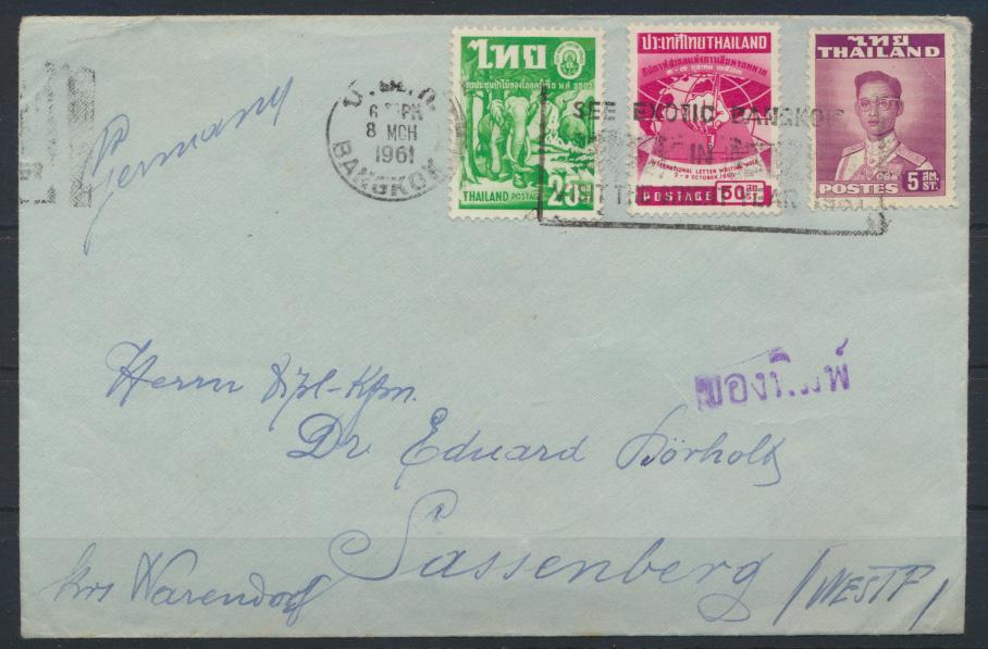 Thailand Bangkok Brief nach Sassenberg 8.3.1961 letter to Germany 0