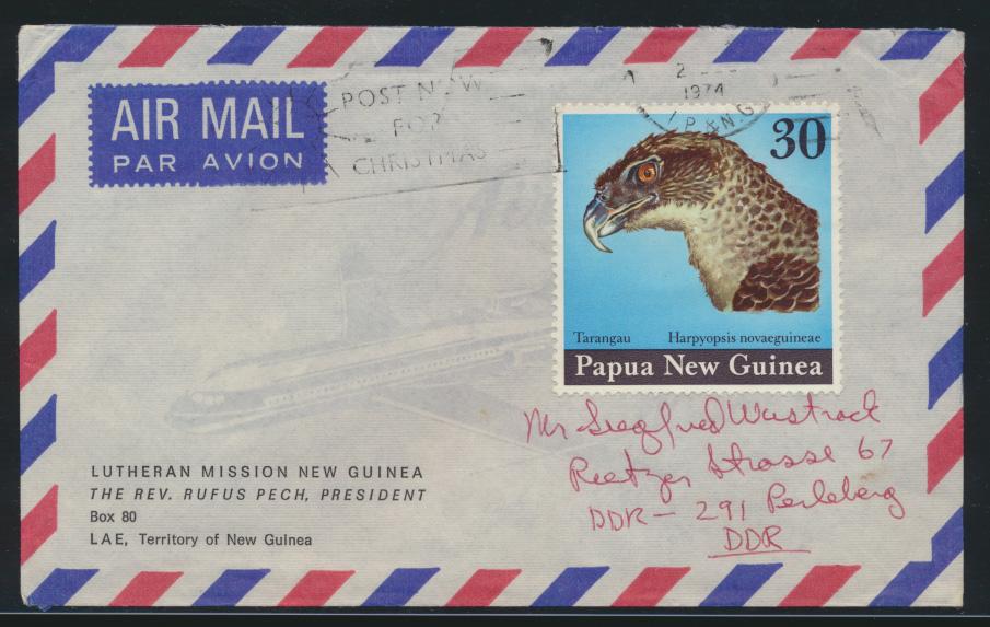 Papua Neu Guinea Brief Tiere Vögel Greifvogel in die DDR n. Perleberg 0