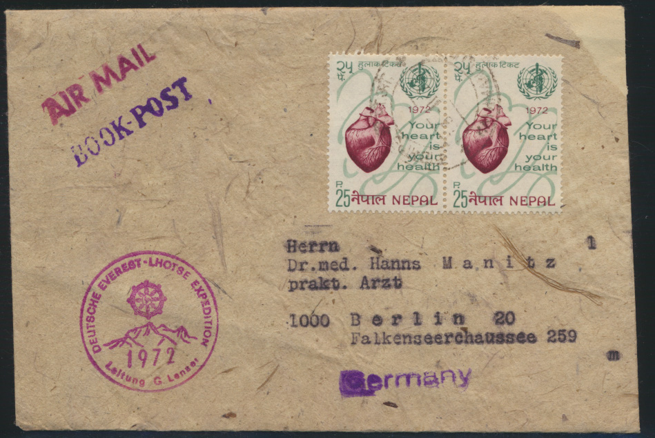 Asia Asien Nepal Brief Book Post nach Berlin  0