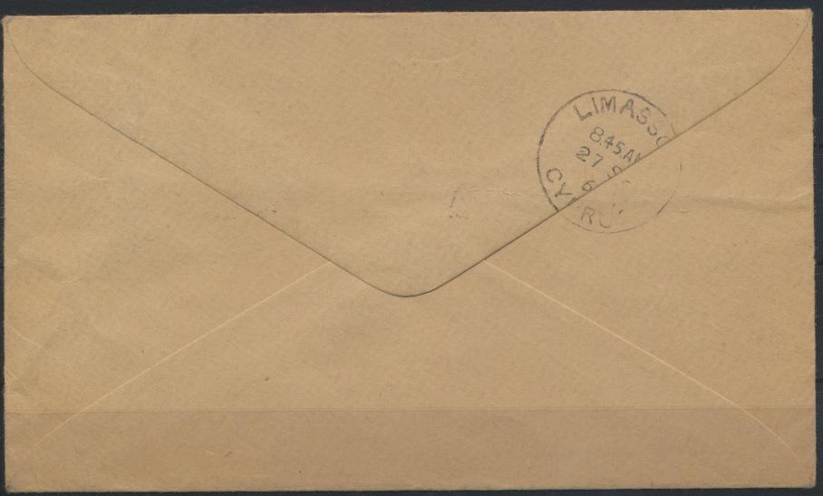 Zypern Brief Aufdruck British militäry Zone Limassol Stockport Großbritannien  1