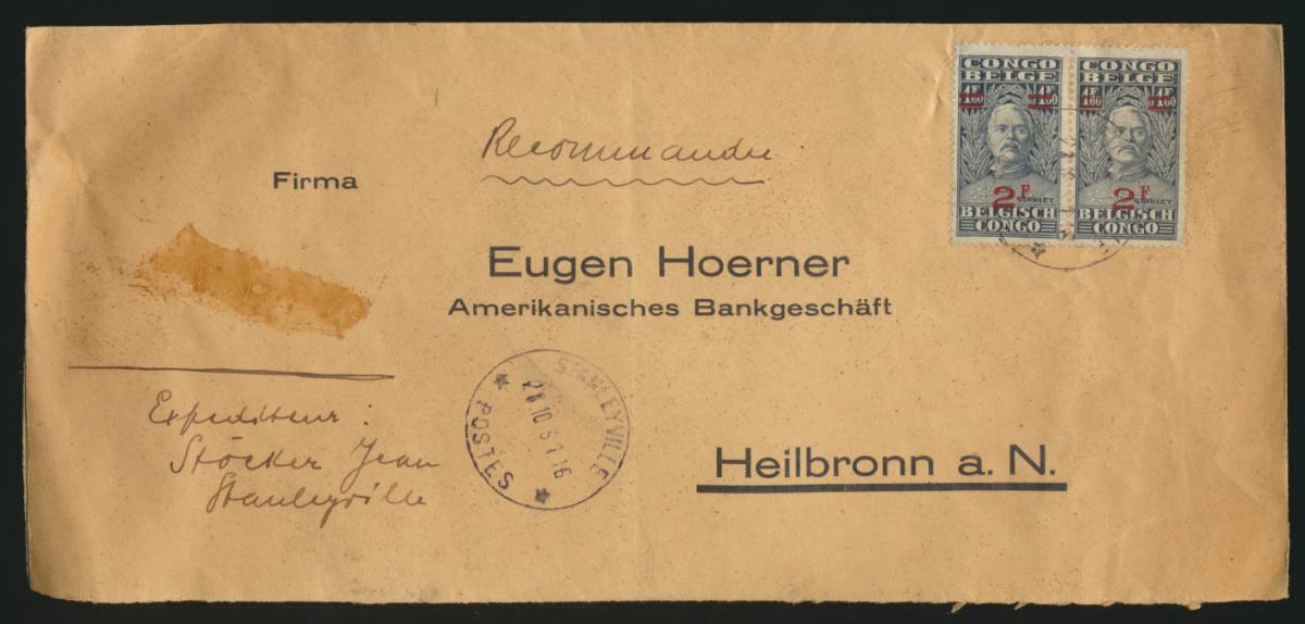 Belgish Belgisch Kongo Brief MEF 2 Fr. Aufdruck Stanleyville nach Heilbronn  0