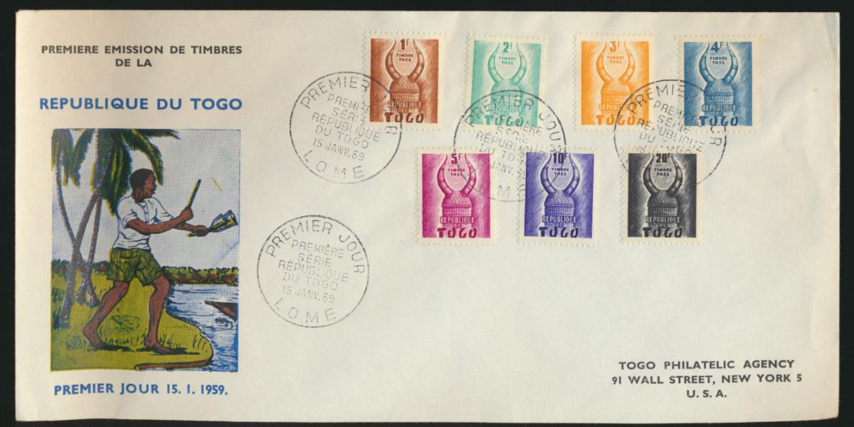 Afrika Togo Lome Brief Premier Jour Ersttag Republik New York USA 15.1.1959 0