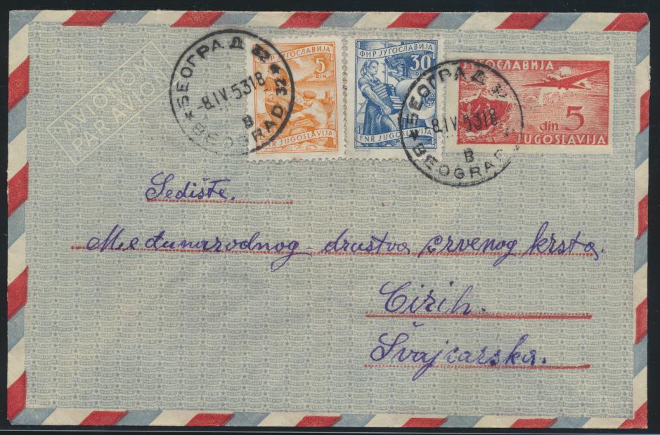 Jugoslawien Belgrad Flugpost Ganzsache ZuF Jugoslavia air mail postal stationery 0