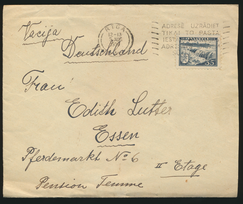 Lettland Brief Riga nach Essen 5.8.1939 Latvia cover to Essen Germany 0