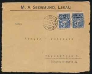 Lettland Briefvorderseite Leepaja Kopenhagen Latvia to Kopenhagen front of cover