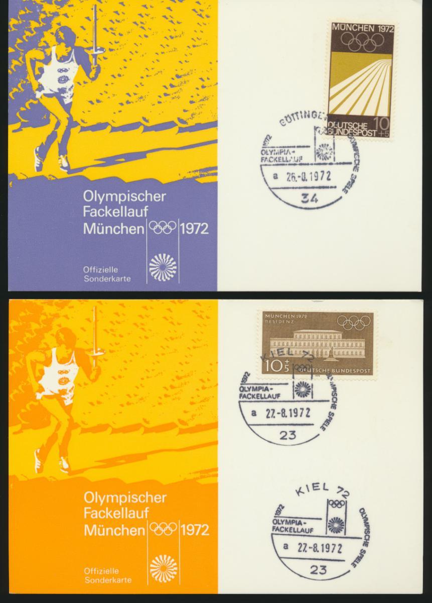 Bund 4 tolle Sonderkarten Olympia 1972 Fackellauf Hamburg Kiel Göttingen Kassel 0