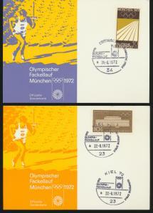 Bund 4 tolle Sonderkarten Olympia 1972 Fackellauf Hamburg Kiel Göttingen Kassel