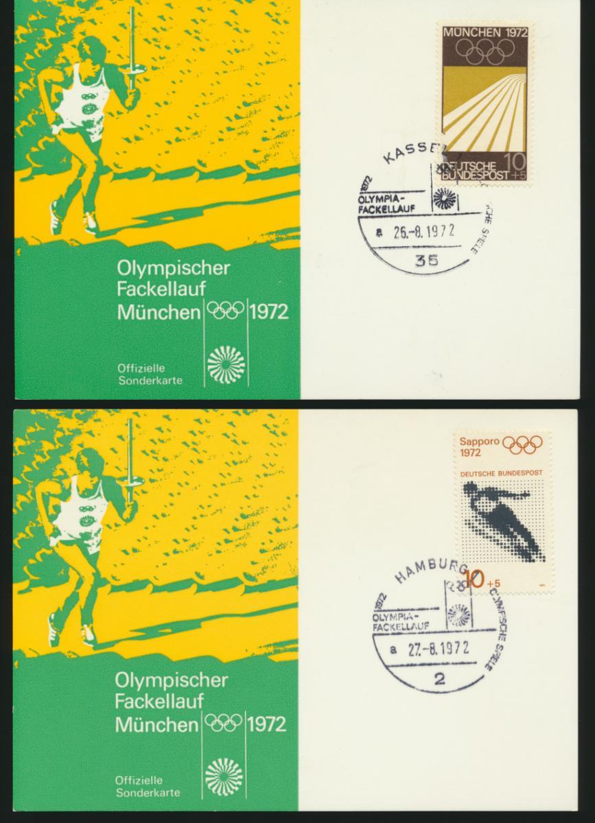 Bund 4 tolle Sonderkarten Olympia 1972 Fackellauf Hamburg Kiel Göttingen Kassel 1