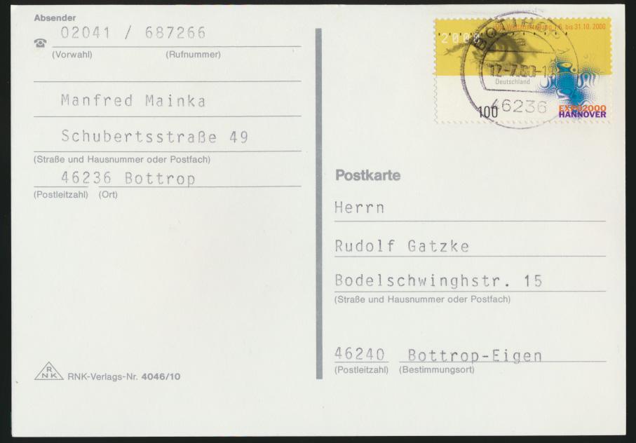 Bund Expo 2000 Hannover 3 Ganzsachen und 2 frankierte Karten 1