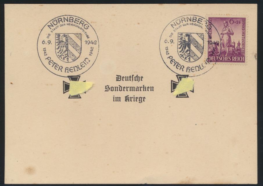 Deutsches Reich Sonderkarte Sondermarken im Kriege SST Nürnberg Peter Henlein 0
