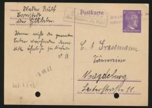 Reich Ganzsache Landpoststempel Bornstedt Eisleben L 9.1.1942, A 2 Unzustellbar