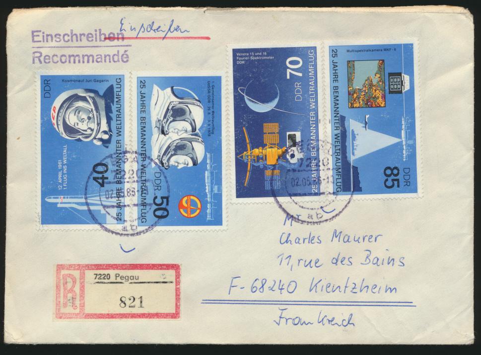 DDR R Zoll Brief Weltraum Pegau via Kayserberg nach Kientzheim Frankreich   0