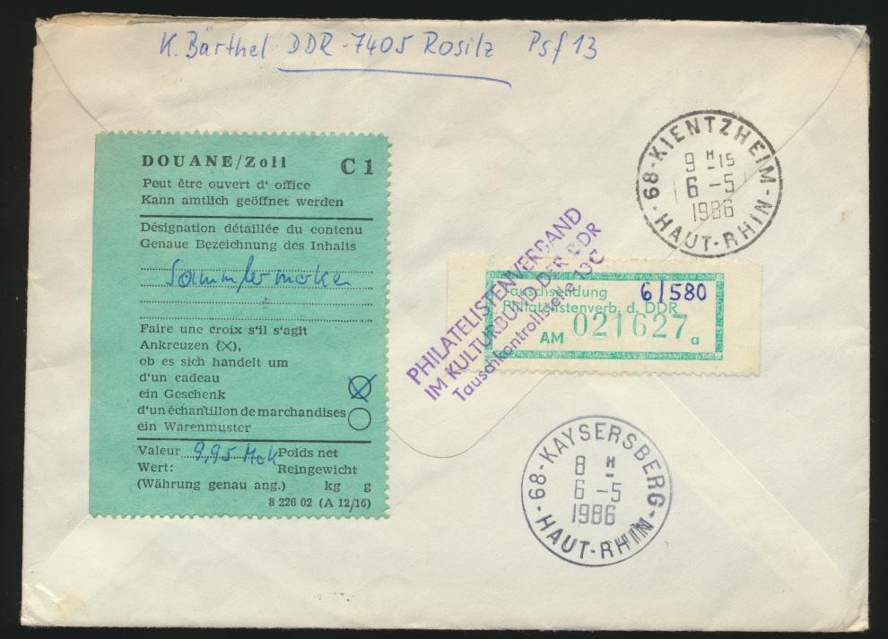 DDR R Zoll Brief Weltraum Pegau via Kayserberg nach Kientzheim Frankreich   1