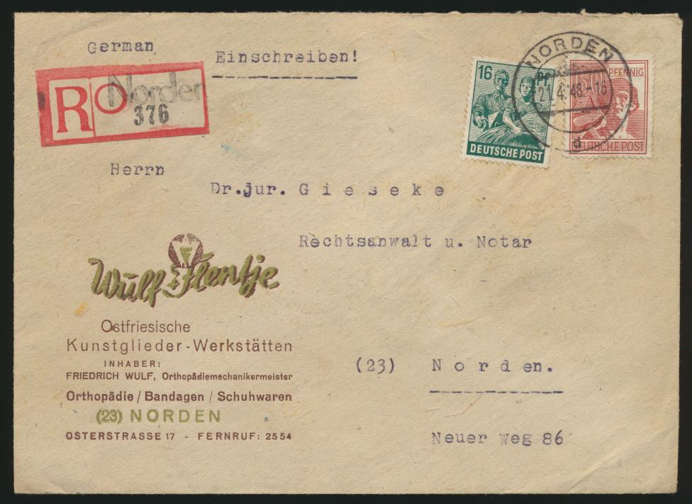 Besetzung Gemeinschaft R Brief 16+60 Pfg Not RZettel Norden Flentje Kunstglieder 0