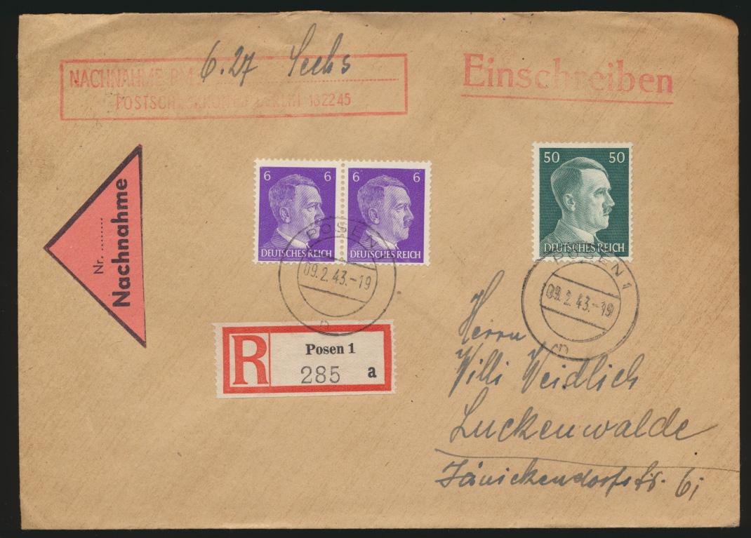 Deutsches Reich Brief Einschreiben Nachnahme Posen nach Luckenwalde 9.2.1943 0