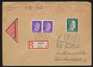 Deutsches Reich Brief Einschreiben Nachnahme Posen nach Luckenwalde 9.2.1943