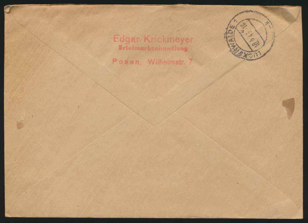 Deutsches Reich Brief Einschreiben Nachnahme Posen nach Luckenwalde 9.2.1943 1