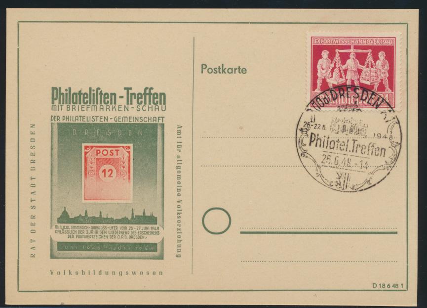 Bizone Sonderkarte Philatelistentrefen Dresden 26.6.1948 0