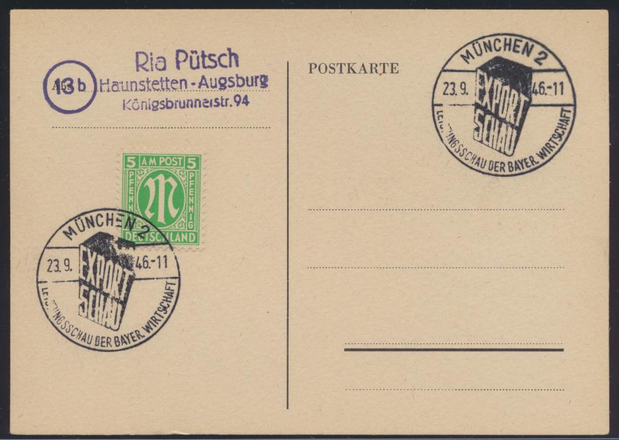 Besetzung Gemeinschaft 2x schöner SST Leistungsschau Wirtschaft München 1946 auf 0