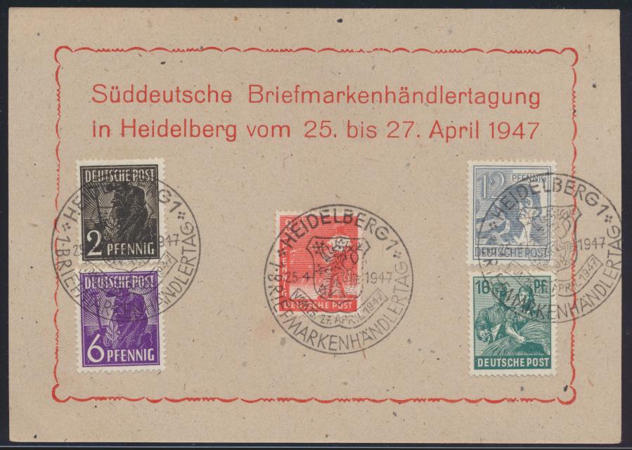 Besetzung Gemeinschaft 3x schöner SST Süddeutsche Briefmarkenhändler Heidelberg 0
