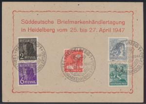 Besetzung Gemeinschaft 3x schöner SST Süddeutsche Briefmarkenhändler Heidelberg