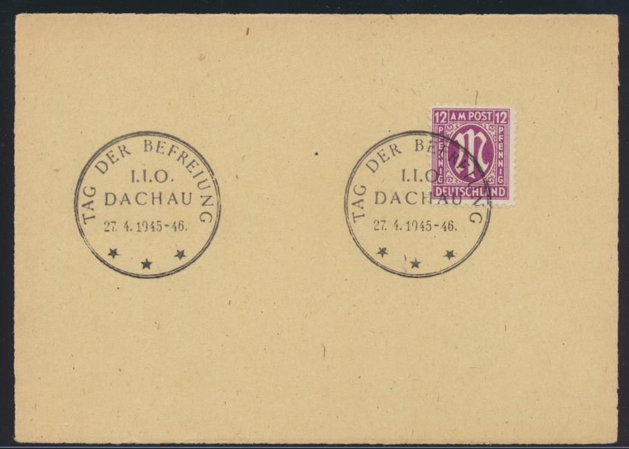 Bizone AM Post 2x SST Tag der Befreiung Dachau 27.4.1945-1946 0