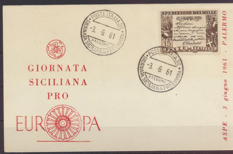 Italien Sonderkarte Gionata Siciliana pro Europa Italy 3.6.1961 0