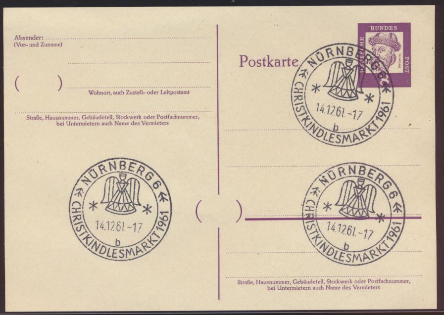 Bund Ganzsache Sonderstempel Nürnberg Christkindlesmarkt 1961 e3x schön abge- 0