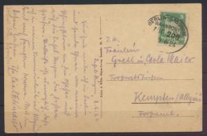 Ansichtskarte Rügen Bahnpost Berlin Sassnitz Zug 2018 9.6.1924 n. Kempten Allgäu