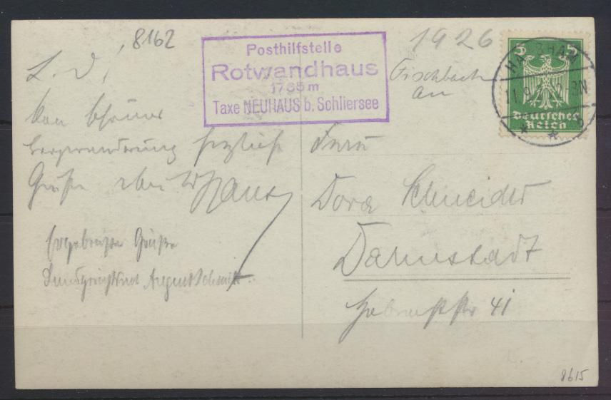 Ansichtskarte Posthilfsstelle Rotwandhaus Taxe Neuhaus b. Schliersee Darmstadt 0