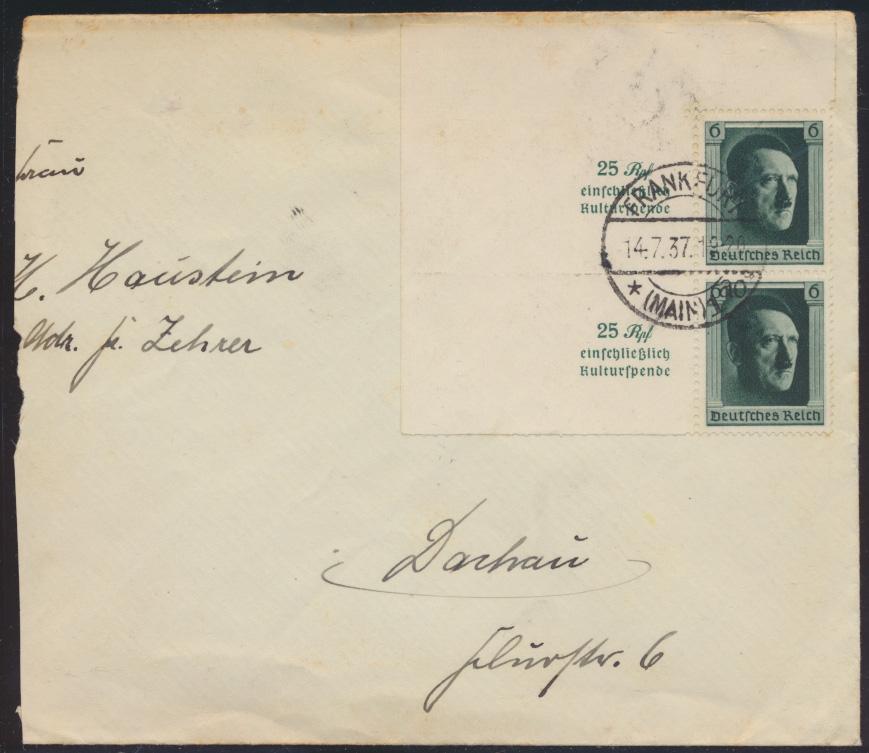 Deutsches Reich Brief Block Einzelmarken Frankfurt nach Dachau 14.7.1937 0