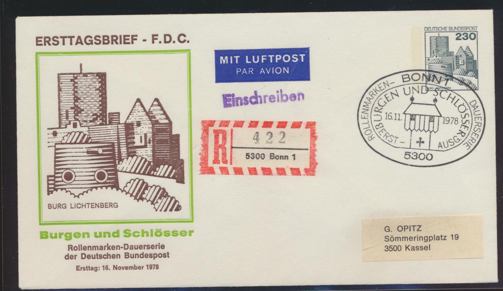 Berlin Ganzsache per Einschreiben Brugen & Schlösser Bonn nach Kassel FDC  0