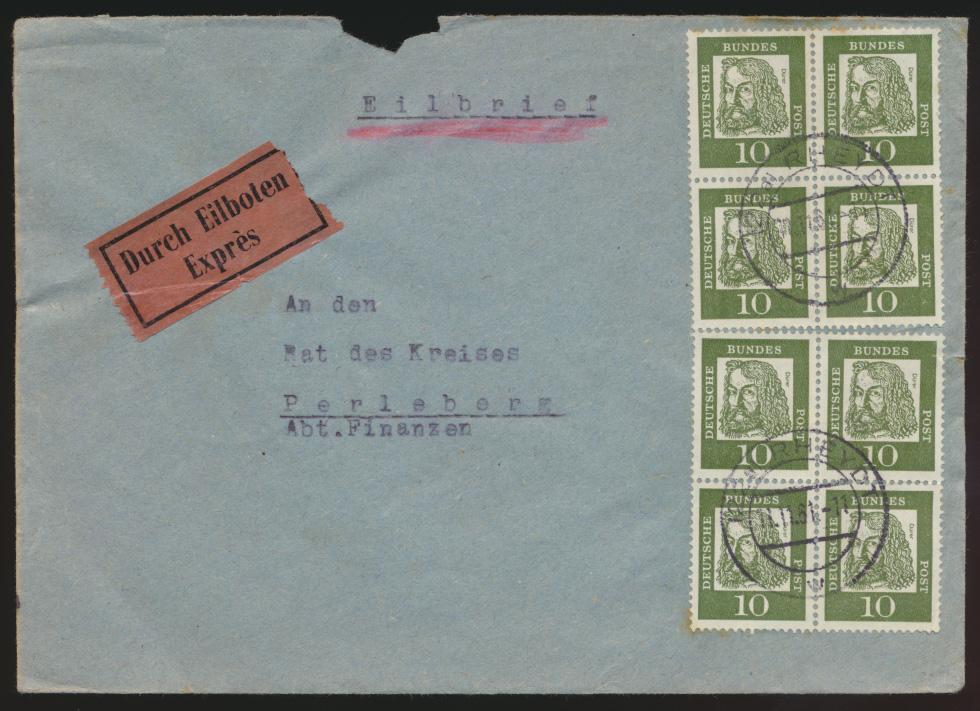 Bund Eilboten Brief MEF Bedeutende Deutsche 2x Viererblock Rheydt n. Perleberg  0