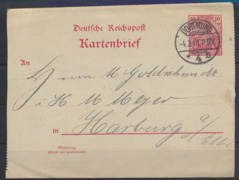 Deutsches Reich 10 Pfg. Germania Kartenbrief Dortmund nach Harburg 4.3.1901 0