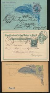 Übersee Brasilien 3 Ganzsachen Brasilia three postal stationery