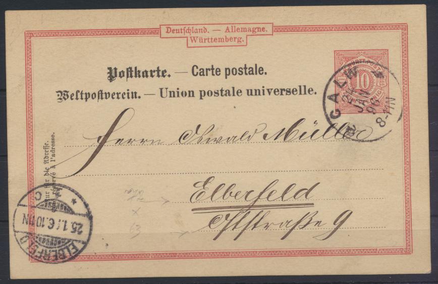 Altdeutschland Württemberg Ganzsache von Calw nach Elberfeld 24.1.1896 0