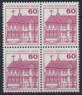 Berlin Burgen und Schlösser 611 A 60 Pfg. Karmin Viererblock Luxus postfrisch 0